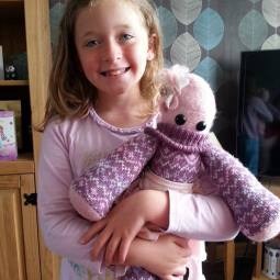 Maisie the Birthday girl with 'Jazzy' her Peerie Critter!