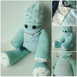 This gorgeous Peerie Critter & Viking were made from a selection of tiny baby clothes sent all the way from New Zealand! They had a long journey to meet their new owner ♥ © Peerie Critters 201