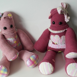 "2 Peerie Critters made for 2 sisters earlier this year usinig keepsake clothing ♥ © Peerie Critters 2014 ""Our girls got their Peerie Critters yesterday and they haven't put them down!!! They are perfect, thank you xxx ~ Catherine"