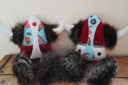 Stacey wondered if I could make a couple of Vikings for her Boys using her 2012 Jarl Squad keepsake materials, this being her little boys baby sleep suit♥ © Peerie Critters 2014 They are fab! It's for... birthday next week but might not be able to keep them thay long x ~ Stacey