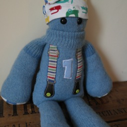 1st Birthday Keepsake Critter made from a selection of Morgans 1st year baby clothes ♥ © Peerie Critters 2013 Love him to bits!!xxx ~ Miriam
