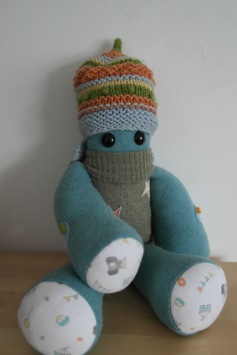"A special 1st birthday Keepsake Critter for baby Benjamin made from a selection of his 1st year clothes ♥ © Peerie Critters 2014 "" So so clever! Love his peerie critter! They are so amazing for keepsakes! Xx ~ Siobhan """